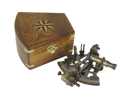 Sextant, Messing antik, in Holzbox