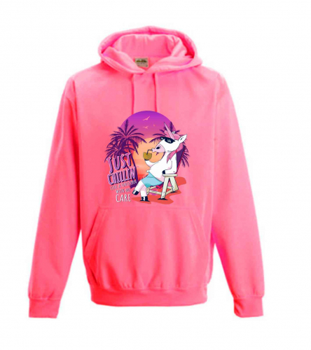 Hoodie Electric Pink Unicorn chilliges Einhorn