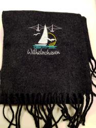 Wilhelmshaven Schal anthrazit bestickt mit Wilhelmshaven-Motiv